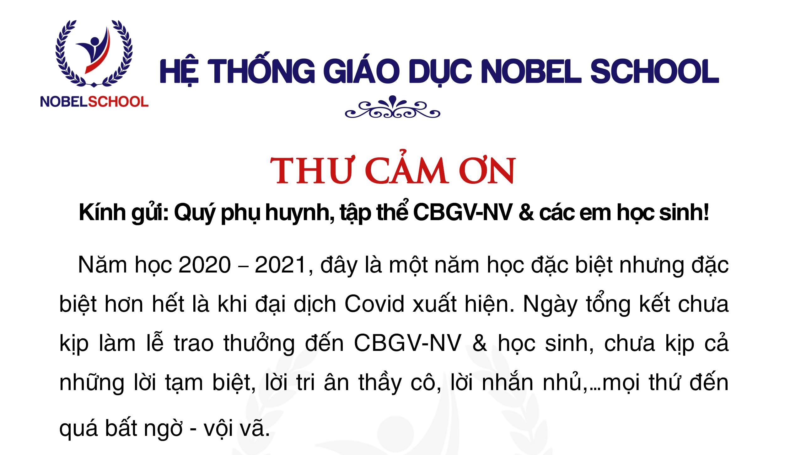 Phó Chủ tịch HĐQT gửi thư cảm ơn đến Quý phụ huynh, CBGVNV và các em học sinh trong hệ thống giáo dục Nobel School
